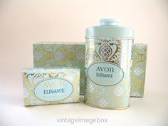 AVON Elegance vintage 1970s Soap and Talc set, boxed, retro 70s toiletries, fantastic packaging design
