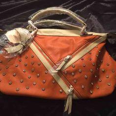 Orange & Cream rhinestone Fashion bag w/strap Trendy handbag with much style.  Orange & Cream with rhinestones and detachable cross body strap. Bags Satchels
