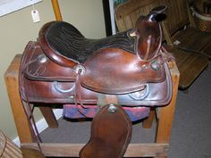 Black Bass Antiques - 1960's Western Style leather saddle.  Antiques Marketplace, Queensbury, NY.