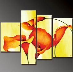 4 Pics Calla Lily Large Modern Art 100% Hand Painted Oil Painting on Canvas Wall Art Deco Home Decoration (Unstretch No Frame) by galleryworldwide, http://www.amazon.com/dp/B0094XYM9Y/ref=cm_sw_r_pi_dp_58cUrb1P5CA7H