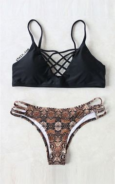 4f77f3ec5d6ae SheIn offers Black Leopard Criss Cross Sexy Bikini Set   more to fit your  fashionable needs.