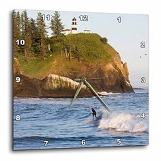3dRose Wa Cape Disappointment Lighthouse Surfing  Us48 Bja0192  Jaynes Gallery  Wall Clock 10 by 10Inch dpp_95145_1 * Check this awesome product by going to the link at the image.