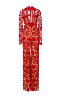 Naeem Khan, Lace Jumpsuit, Party Dresses For Women, Runway Fashion, Dressing, V Neck, Jumpsuits, How To Wear, Neckline