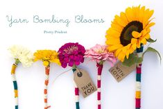 Flower Yarn Bombs