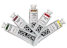 Golden Heavy Body Acrylics - Tubes x 5 Colours - Artists Oil Painting Supplies, Art Supplies, Paint Brush Holders, Bismuth, Liquitex, Painted Pots, Iron Oxide, Artist Painting, Paint Brushes