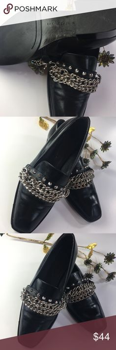 Zara Leather Chained Shoes Black Zara Leather Chained Heeled Shoes.  Gently worn in great shape. They run more like a   7.5-8 so I do not ware them much. They say say 7 or 38. Zara Shoes Flats & Loafers