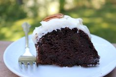Farmhouse Chocolate Zucchini bundt cake with cream cheese frosting