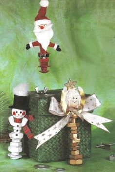 Use spare bolts, washers and other hardware to create a snowman, angel or Santa ornament for Christmas