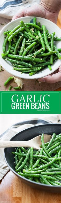 Garlic Green Beans is one of my favorite side dish recipes! It's easy to make and pretty healthy with Crispy Green Beans sauteed in a skillet. Fresh parley adds a great, herbaceous brightness with a little bit of butter and garlic. This is special enough Vegetable Side Dishes, Vegetable Recipes, Chicken Recipes, Shrimp Recipes, Pasta Recipes, Soup Recipes, Healthy Recipes, Vegetarian Recipes, Delicious Recipes