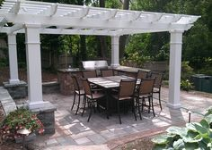pergola over outdoor kitchen