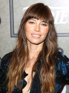 Jessica Biel's Long, Wavy, Romantic Hairstyle with Bangs