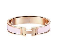 "Hermès Clic H Hermes narrow enamel bracelet Rose gold plated hardware, 2.5"" diameter, 6.7"" circumference, 0.5"" wide Color : sugar pink"