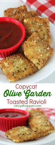 Copycat Olive Garden Toasted Ravioli Recipe Loaded with great flavor and slightly fried makes this appetizer so delish Save s and make your favorites at home Tapas, Great Recipes, Favorite Recipes, Sauce Recipes, Healthy Recipes, Potato Recipes, Pasta Recipes, Crockpot Recipes, Energy Bites