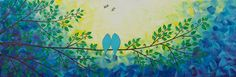 blue bird Painting birds in tree branch painting by QiQiGallery