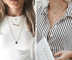 Golden layered necklaces