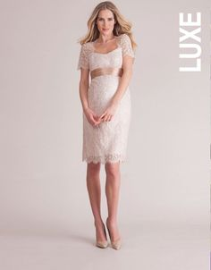 Champagne Cut Out Lace Maternity Dress  fce68a614077
