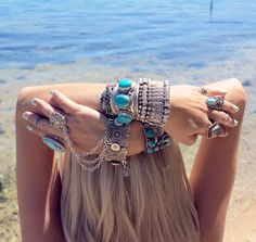 Gypsy chic chunky turquoise cuff bracelets, boho style silver stacking bangles, modern hippie rings. For the BEST Bohemian fashion trends for 2014 FOLLOW http://www.pinterest.com/happygolicky/the-best-boho-chic-fashion-bohemian-jewelry-gypsy-/
