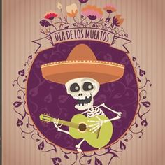 Day of the dead Mexican Mariachi design with Mexico style to celebrate the Halloween Banner, Happy Halloween, Halloween Decorations, Halloween Invitaciones, Mexican Mariachi, All Souls Day, Sugar Skull Art, Sugar Skulls, Day Of The Dead Art