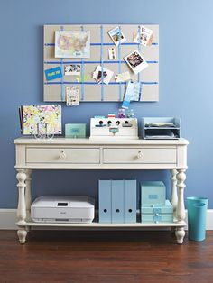 It seems like a desk never holds everything a desk should. Enter the console, aka the home office store-it-all. Everyday necessities like sticky notes, folders and cellphone chargers can stay on top.