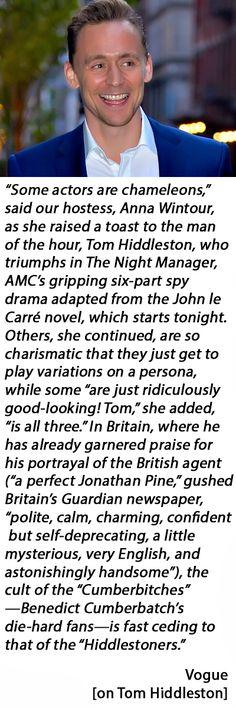 Vogue: Sienna Miller, Stephen Colbert, Trevor Noah, and More Celebrate Tom Hiddleston in The Night Manager. Link: http://www.vogue.com/13427839/sienna-miller-stephen-colbert-trevor-noah-anna-wintour-tom-hiddleston-dinner-party-2016/