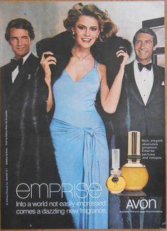 1976 vintage beauty AD elegant lady in blue dress & furs AVON Emprise