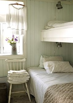 bunk beds.  I love this idea in making the top a loft. Much cheaper as we could keep the twin beds we already have.