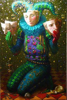 Image detail for -Artodyssey: Victor Nizovtsev - Виктор Низовцев Victor Nizovtsev, Art Du Cirque, Pierrot Clown, Court Jester, Russian Art, Whimsical Art, Surreal Art, Illustrators, Fantasy Art
