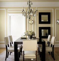 Applying narrow strips of molding to look like panels is a popular treatment known as picture framing. Frame sizes often vary around the room, emphasizing small spaces above doors and windows and highlighting large wall spaces for art placement, but the key to eye-pleasing design is keeping the spacing between frames uniform and edges aligned