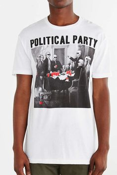 8436db45187 Riot Society Political Party Tee - Urban Outfitters White Shirt Men