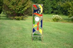 Stained Glass Yard Art 'Fantasy' Giant Glass Garden Sculpture, Glass Garden Panel Stake,  Red Blue Yellow Green Glass, Copper, Lead, Brass