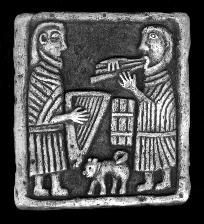 Celtic Musicians with Cat; Music is thought to have played a powerful role in early Scotland.  This 10th century carving from Lethendy Tower in Perthshire shows Pictish harp, Irish pipes and drum.