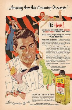"""""""It's here! GROOMIX, the new miracle grooming agent!"""" 1950's, Funny Vintage Hair Advertising."""