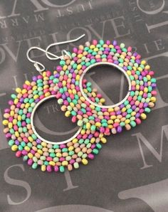 Hoop Earrings Pastel Meadow  Beaded Multicolored by WorkofHeart