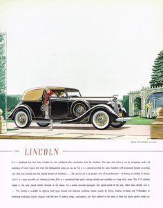 1935 BIG Vintage Lincoln Brunn Convertible Victoria Car Automobile Art Print Ad