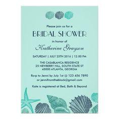 Soft Blue Seashells Invitation for Summer Wedding