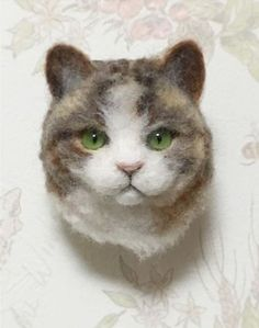 Cute Needle felting project wool animals cat(Via @2525_happy)