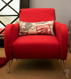Sillón Ytaly Red 45744 Living Rooms, Armchair, Red, Furniture, Ideas, Home Decor, Architecture, Interiors, Womb Chair