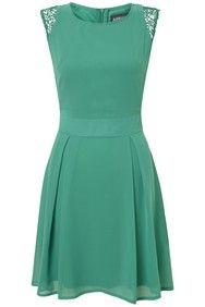 Green Lace Shoulder Structured Dress