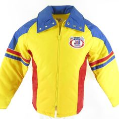 b2552ab2e30 Vintage 80s Justice Bros Indy Auto Racing Jacket S Deadstock Puffy Ski  Bright