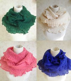 ruffle edge knitted polyester infinity scarf by blackbeanblackbean, $9.62