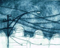 Original Print, Dry Point Etching of a Melbourne Urban Skyline Scene with Tram Lines in Deep Blue. $220.00, via Etsy.