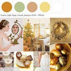 {Do You Hear What I Hear?}: A Palette of Latte, Light Sage, Camel, Antique Gold + White ☛ ow.ly/7U5jZ