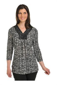 Tan Jay:  Kint 3/4 Sleeve V-neck Tunic with Embellishment
