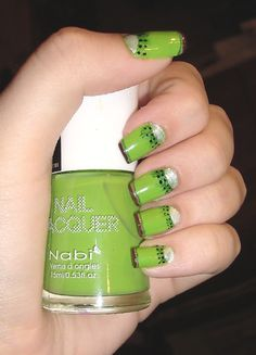 Kiwi Nails    - Nabi Fruit Green  - Finger Paints Sketch n Etch  - Orly Platinum  - China Glaze Liquid Leather  - Orly Coffee Break  - Finger Paints Sketchy Character  - BC+TC #nailtips