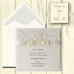 Pearls and Lace wedding invitations flat card / evening invitations