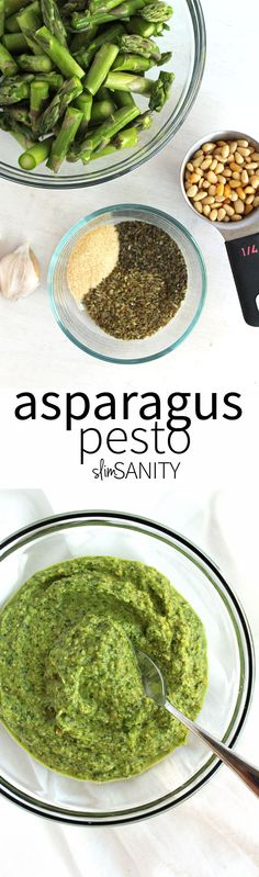 Asparagus pesto is a flavorful, lower calorie alternative to traditional pesto that doubles as a veggie!   slimsanity.com