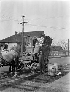 Two men & horse-drawn garbage wagon - curbside collection, circa 1920
