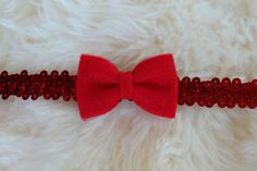 Red Felt and Tulle Bow on Red Sequin Headband by sparkleandspiceshop