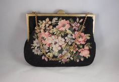 **SOLD**Small Vintage Floral Needlepoint Purse by JenuineCollection on Etsy
