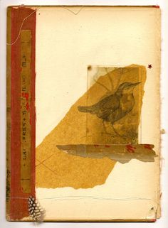 Mixed media on vintage book cover (colored pencil drawing on tissue, vintage photo and ephemera, string, feather) 7.5 x 10 inches.